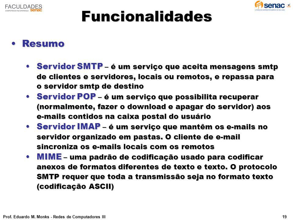 Funcionalidades Prof.Eduardo M.
