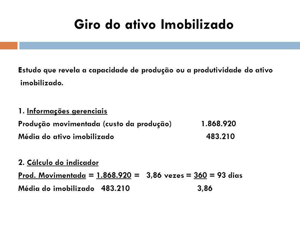 Giro do ativo Imobilizado Estudo que revela a capacidade de produção ou a produtividade do ativo imobilizado.