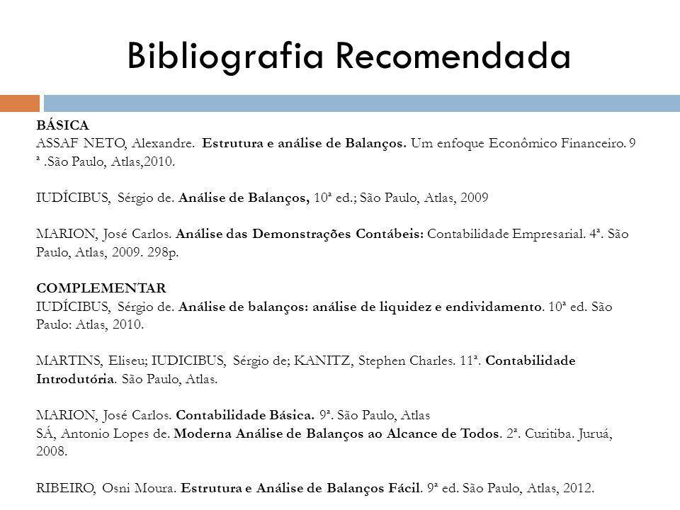 Bibliografia Recomendada BÁSICA ASSAF NETO, Alexandre.