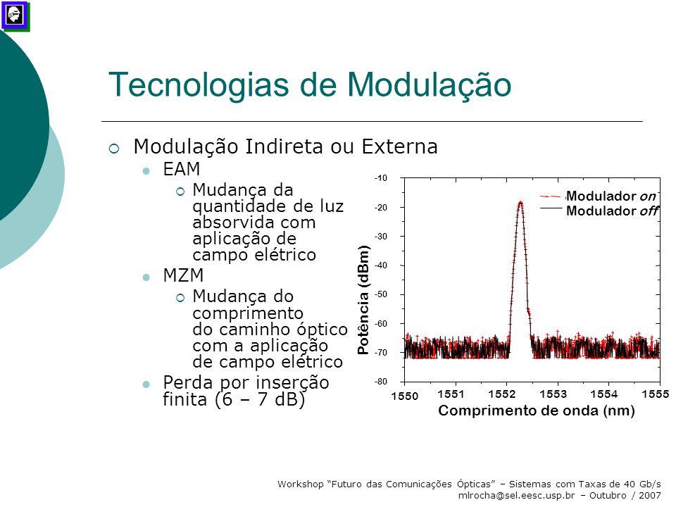 """Workshop """"Futuro das Comunicações Ópticas"""" – Sistemas com Taxas de 40 Gb/s mlrocha@sel.eesc.usp.br – Outubro / 2007 Tecnologias de Modulação  Modulaç"""