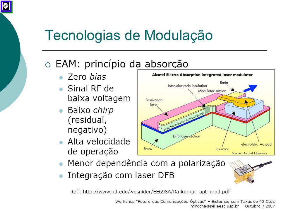 """Workshop """"Futuro das Comunicações Ópticas"""" – Sistemas com Taxas de 40 Gb/s mlrocha@sel.eesc.usp.br – Outubro / 2007 Tecnologias de Modulação  EAM: pr"""