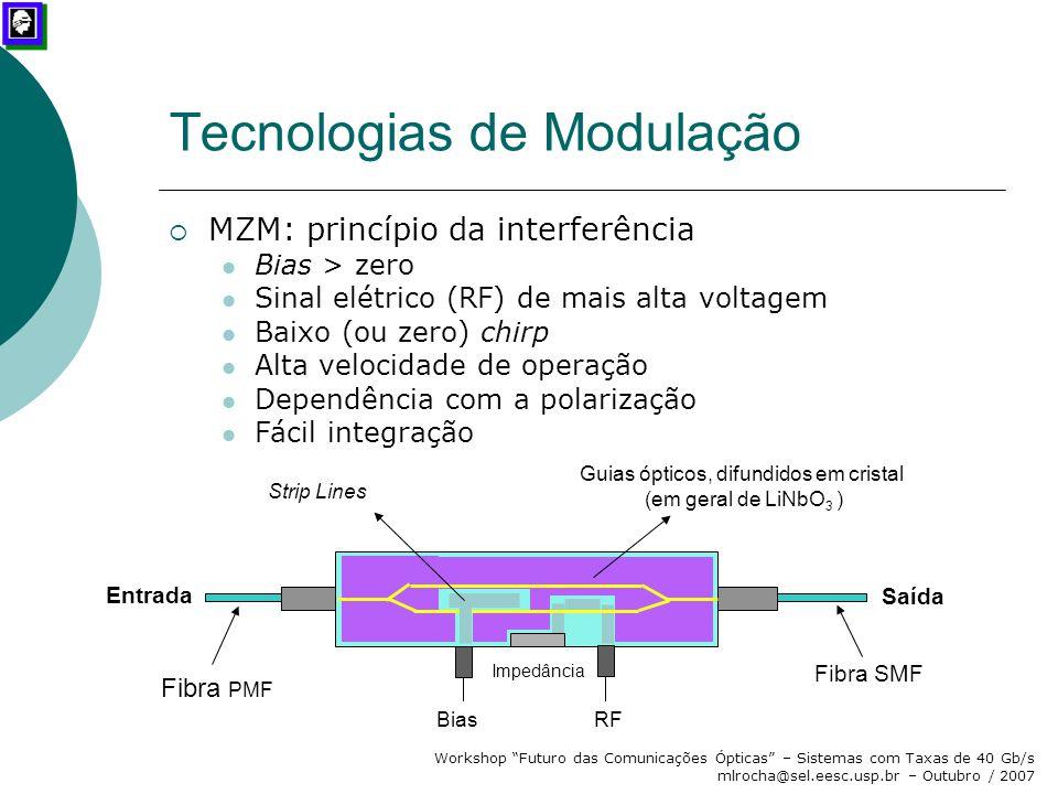 """Workshop """"Futuro das Comunicações Ópticas"""" – Sistemas com Taxas de 40 Gb/s mlrocha@sel.eesc.usp.br – Outubro / 2007 Tecnologias de Modulação  MZM: pr"""