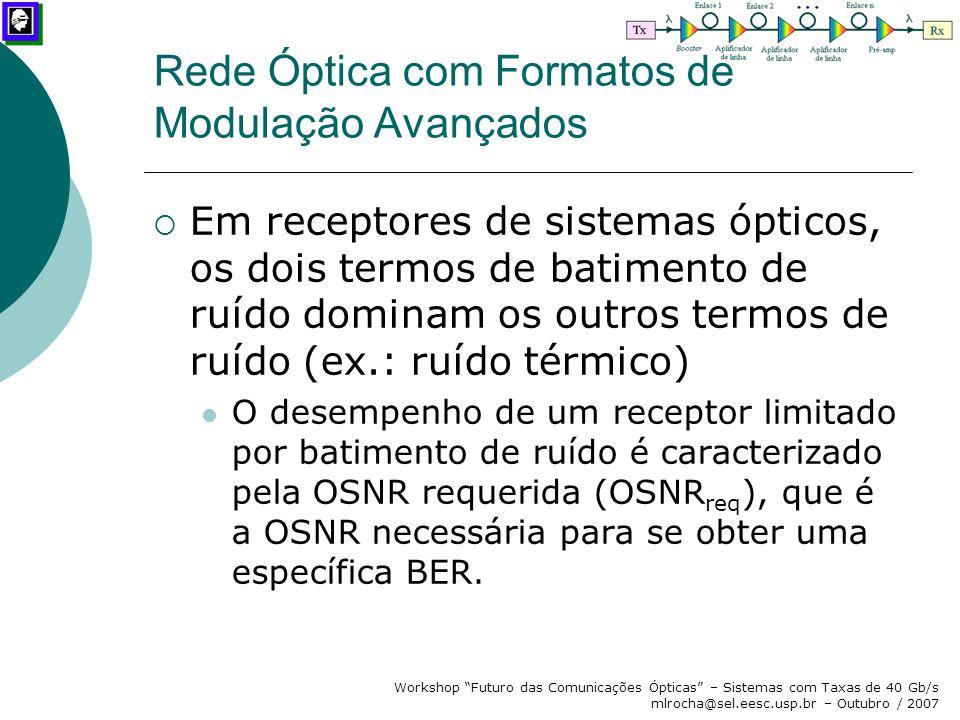 """Workshop """"Futuro das Comunicações Ópticas"""" – Sistemas com Taxas de 40 Gb/s mlrocha@sel.eesc.usp.br – Outubro / 2007  Em receptores de sistemas óptico"""