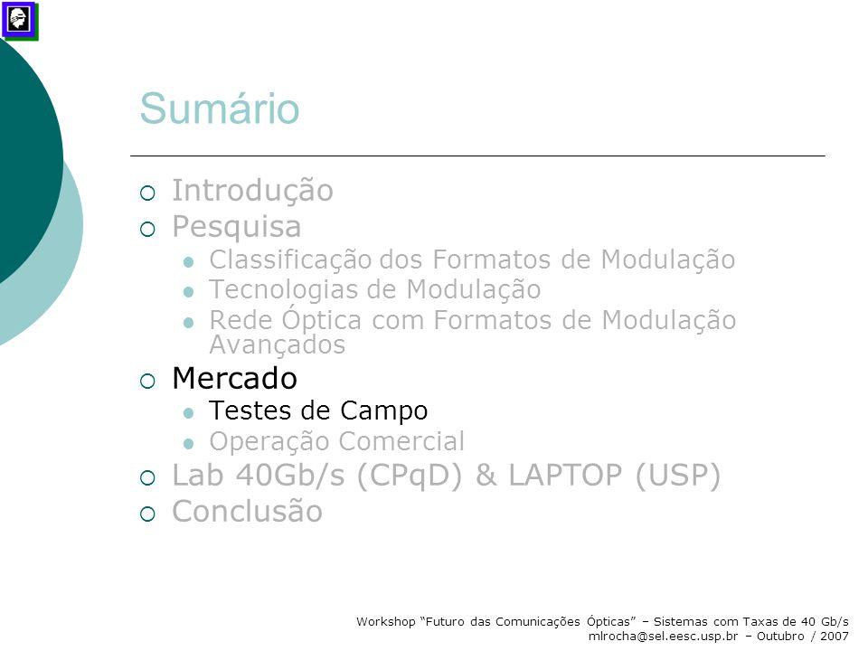 """Workshop """"Futuro das Comunicações Ópticas"""" – Sistemas com Taxas de 40 Gb/s mlrocha@sel.eesc.usp.br – Outubro / 2007 Sumário  Introdução  Pesquisa Cl"""