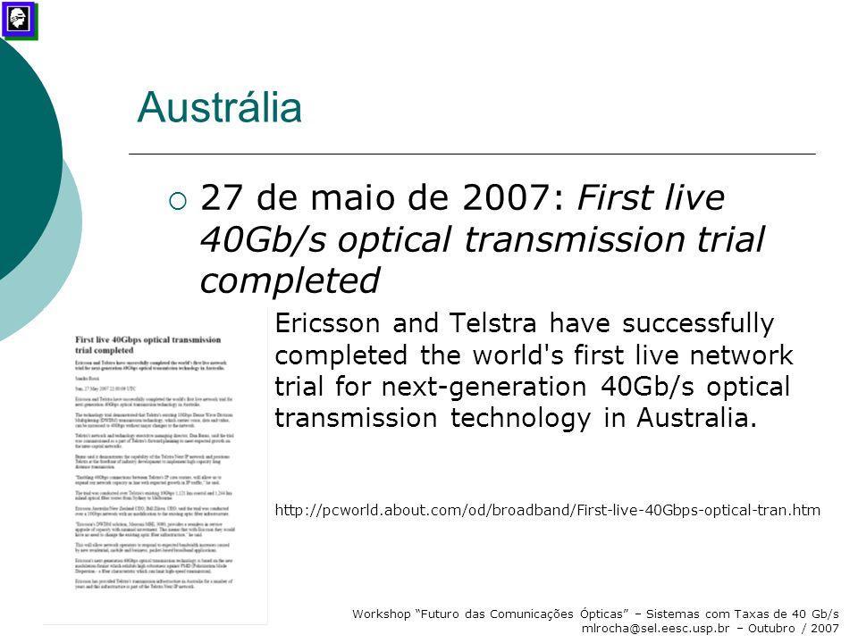 """Workshop """"Futuro das Comunicações Ópticas"""" – Sistemas com Taxas de 40 Gb/s mlrocha@sel.eesc.usp.br – Outubro / 2007 Austrália  27 de maio de 2007: Fi"""