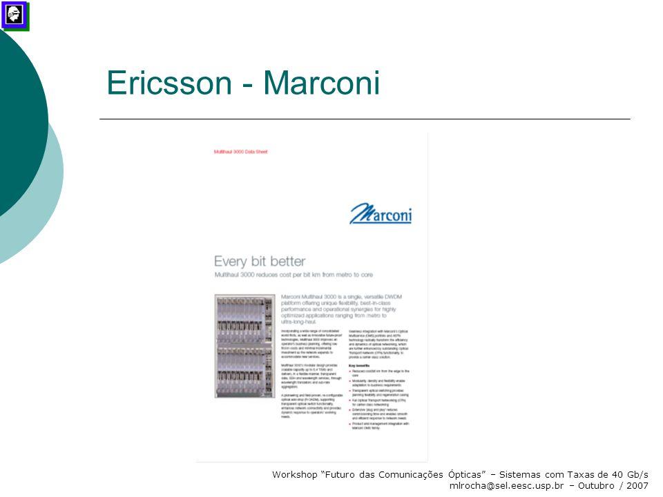 """Workshop """"Futuro das Comunicações Ópticas"""" – Sistemas com Taxas de 40 Gb/s mlrocha@sel.eesc.usp.br – Outubro / 2007 Ericsson - Marconi"""