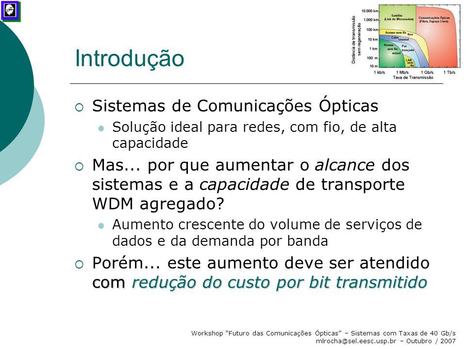"""Workshop """"Futuro das Comunicações Ópticas"""" – Sistemas com Taxas de 40 Gb/s mlrocha@sel.eesc.usp.br – Outubro / 2007 Introdução  Sistemas de Comunicaç"""