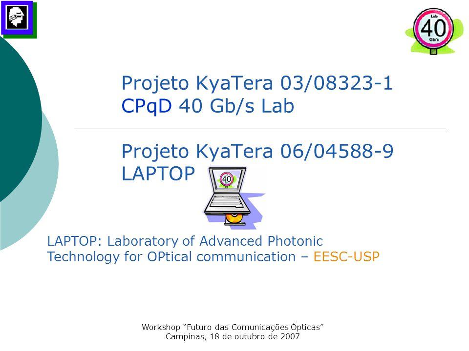 """Workshop """"Futuro das Comunicações Ópticas"""" Campinas, 18 de outubro de 2007 Projeto KyaTera 03/08323-1 CPqD 40 Gb/s Lab Projeto KyaTera 06/04588-9 LAPT"""
