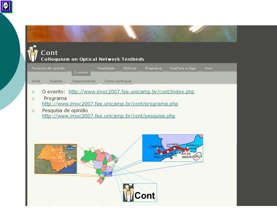 """Workshop """"Futuro das Comunicações Ópticas"""" – Sistemas com Taxas de 40 Gb/s mlrocha@sel.eesc.usp.br – Outubro / 2007 CONT – Salvador, 01/11/2007  O ev"""