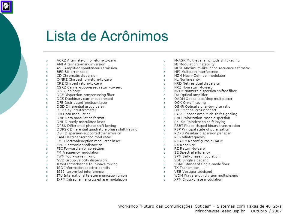 """Workshop """"Futuro das Comunicações Ópticas"""" – Sistemas com Taxas de 40 Gb/s mlrocha@sel.eesc.usp.br – Outubro / 2007 Lista de Acrônimos  ACRZ Alternat"""