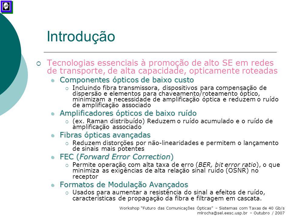 """Workshop """"Futuro das Comunicações Ópticas"""" – Sistemas com Taxas de 40 Gb/s mlrocha@sel.eesc.usp.br – Outubro / 2007 Introdução  Tecnologias essenciai"""