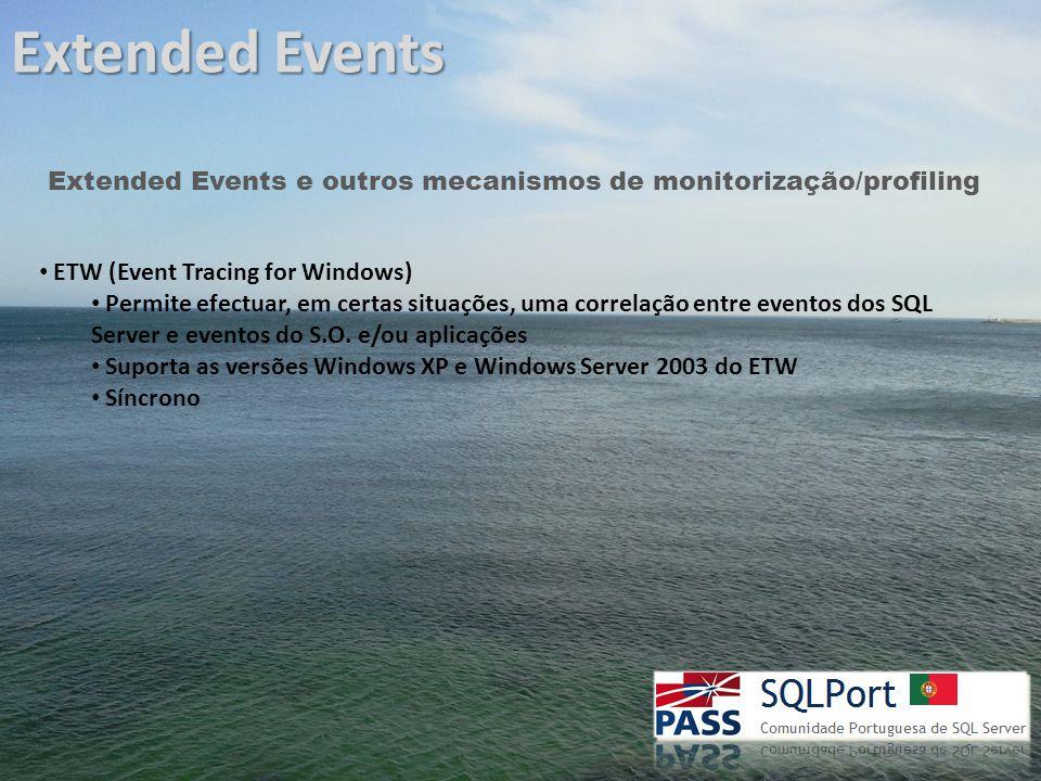 Extended Events Extended Events e outros mecanismos de monitorização/profiling ETW (Event Tracing for Windows) Permite efectuar, em certas situações, uma correlação entre eventos dos SQL Server e eventos do S.O.
