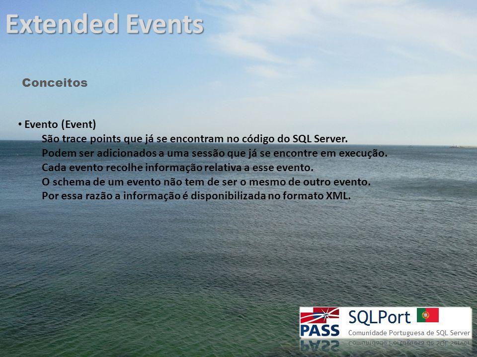 Extended Events Conceitos Acções (Action) Permitem adicionar mais informação/contexto a um evento.