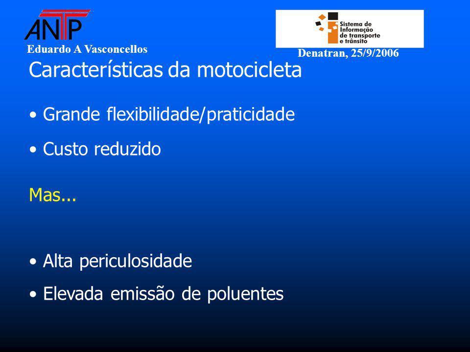 Eduardo A Vasconcellos Denatran, 25/9/2006 Características da motocicleta Grande flexibilidade/praticidade Custo reduzido Mas...