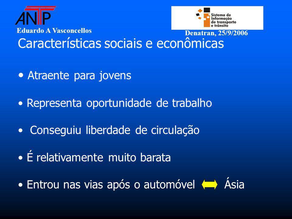 Eduardo A Vasconcellos Denatran, 25/9/2006 Características sociais e econômicas Atraente para jovens Representa oportunidade de trabalho Conseguiu lib