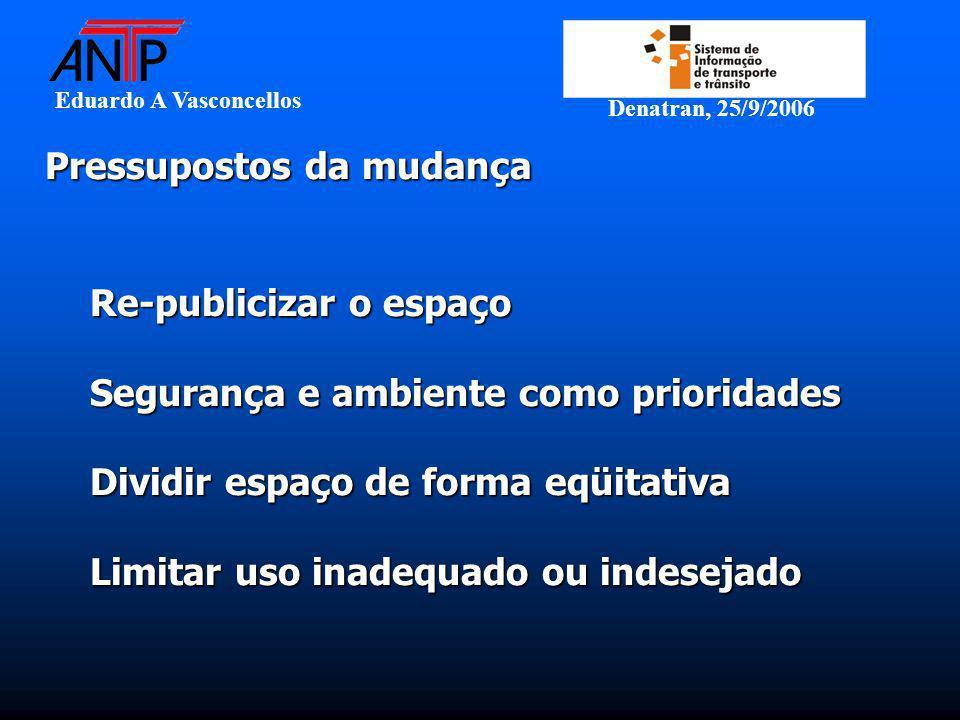 Eduardo A Vasconcellos Denatran, 25/9/2006 Pressupostos da mudança Pressupostos da mudança Re-publicizar o espaço Segurança e ambiente como prioridade