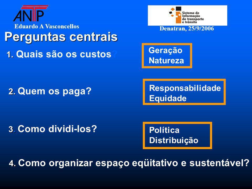 Eduardo A Vasconcellos Denatran, 25/9/2006 Perguntas centrais 1. 1. Quais são os custos? Geração Natureza 2. 2. Quem os paga? Responsabilidade Equidad