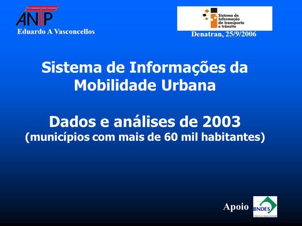 Eduardo A Vasconcellos Denatran, 25/9/2006 Sistema de Informações da Mobilidade Urbana Dados e análises de 2003 (municípios com mais de 60 mil habitantes) Apoio