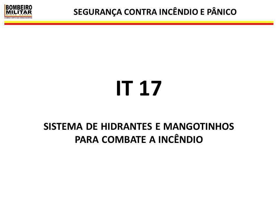 SEGURANÇA CONTRA INCÊNDIO E PÂNICO 1 IT 17 SISTEMA DE HIDRANTES E MANGOTINHOS PARA COMBATE A INCÊNDIO