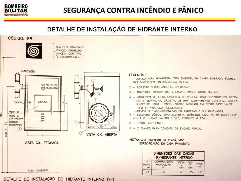 SEGURANÇA CONTRA INCÊNDIO E PÂNICO 22 DETALHE DE INSTALAÇÃO DE HIDRANTE INTERNO