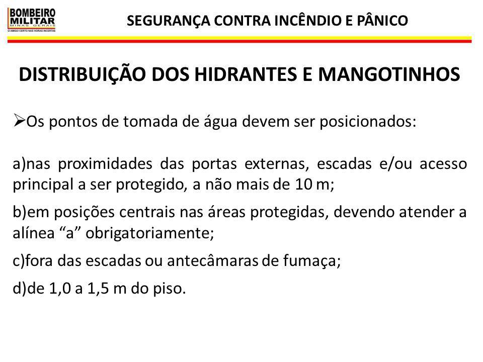 SEGURANÇA CONTRA INCÊNDIO E PÂNICO 23 DISTRIBUIÇÃO DOS HIDRANTES E MANGOTINHOS  Os pontos de tomada de água devem ser posicionados: a)nas proximidade