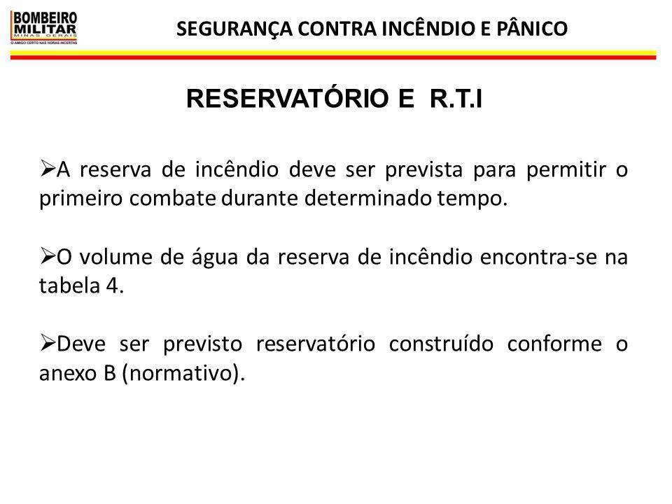 SEGURANÇA CONTRA INCÊNDIO E PÂNICO 30 RESERVATÓRIO E R.T.I  A reserva de incêndio deve ser prevista para permitir o primeiro combate durante determin