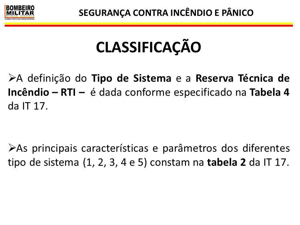 SEGURANÇA CONTRA INCÊNDIO E PÂNICO 9 CLASSIFICAÇÃO  A definição do Tipo de Sistema e a Reserva Técnica de Incêndio – RTI – é dada conforme especifica