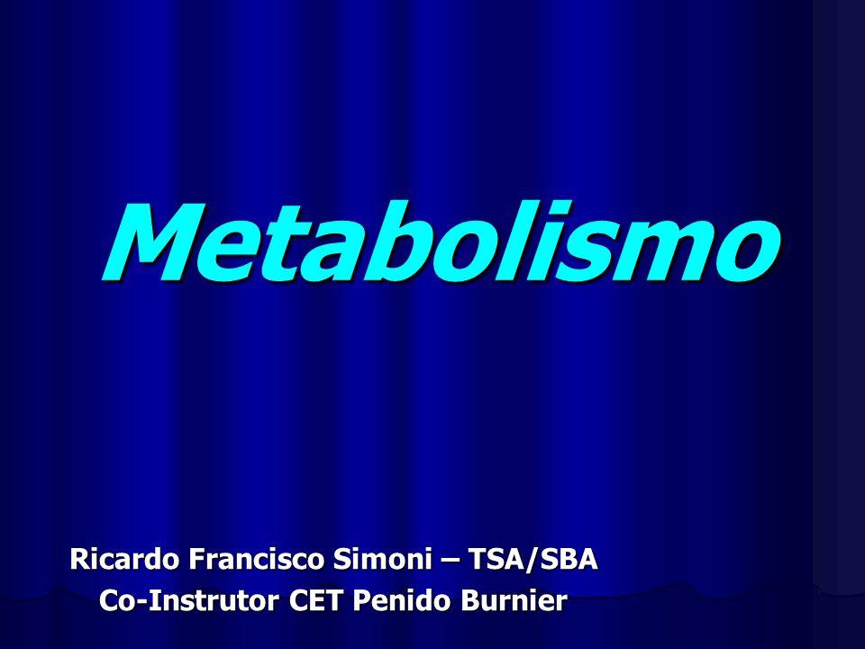 Metabolismo Ricardo Francisco Simoni – TSA/SBA Co-Instrutor CET Penido Burnier