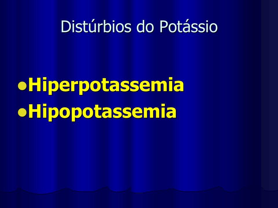 Distúrbios do Potássio Hiperpotassemia Hiperpotassemia Hipopotassemia Hipopotassemia