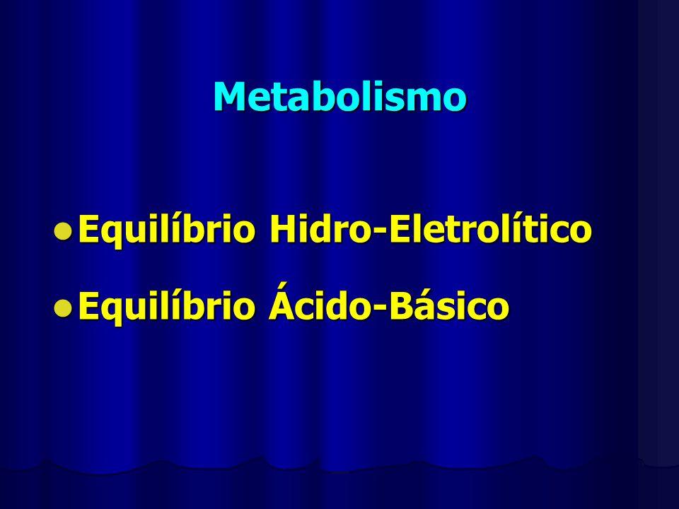 Metabolismo Equilíbrio Hidro-Eletrolítico Equilíbrio Hidro-Eletrolítico Equilíbrio Ácido-Básico Equilíbrio Ácido-Básico