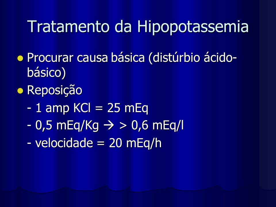 Tratamento da Hipopotassemia Procurar causa básica (distúrbio ácido- básico) Procurar causa básica (distúrbio ácido- básico) Reposição Reposição - 1 a