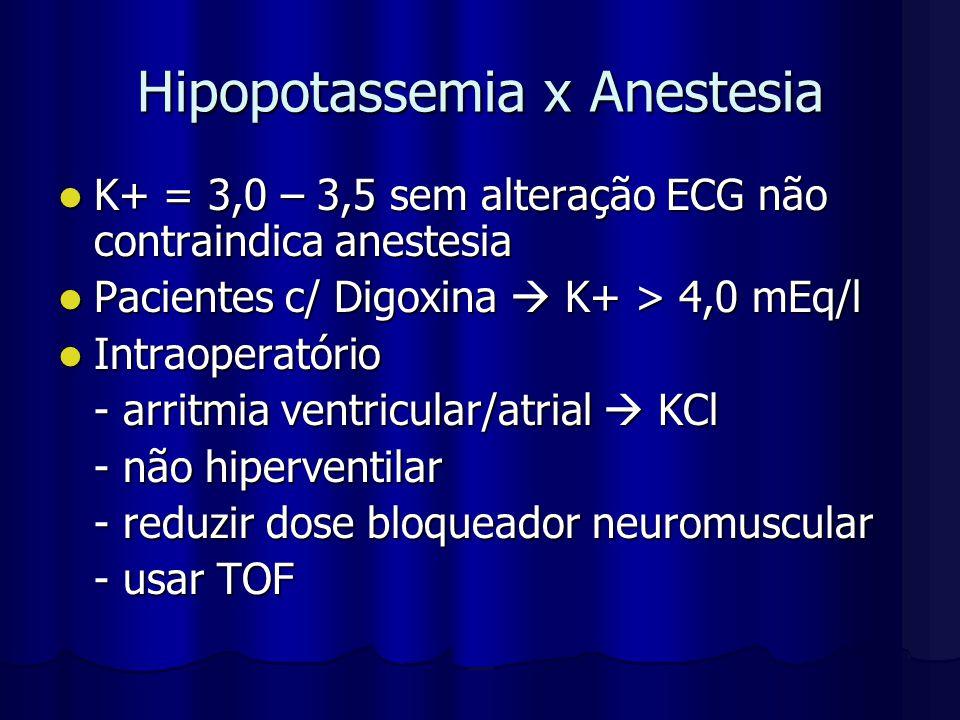 Hipopotassemia x Anestesia K+ = 3,0 – 3,5 sem alteração ECG não contraindica anestesia K+ = 3,0 – 3,5 sem alteração ECG não contraindica anestesia Pac