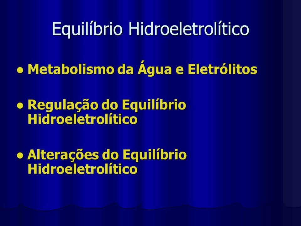 Metabolismo da Água e Eletrólitos Adulto 2000 – 3000 ml Urina 1000 – 2000 ml Perdas Insensíveis Fezes Fezes 200 ml Respiração Respiração 600 ml Evaporação Evaporação 400 ml