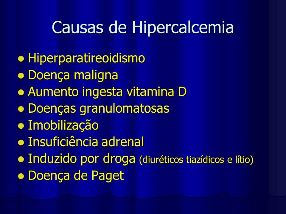 Causas de Hipercalcemia Hiperparatireoidismo Hiperparatireoidismo Doença maligna Doença maligna Aumento ingesta vitamina D Aumento ingesta vitamina D