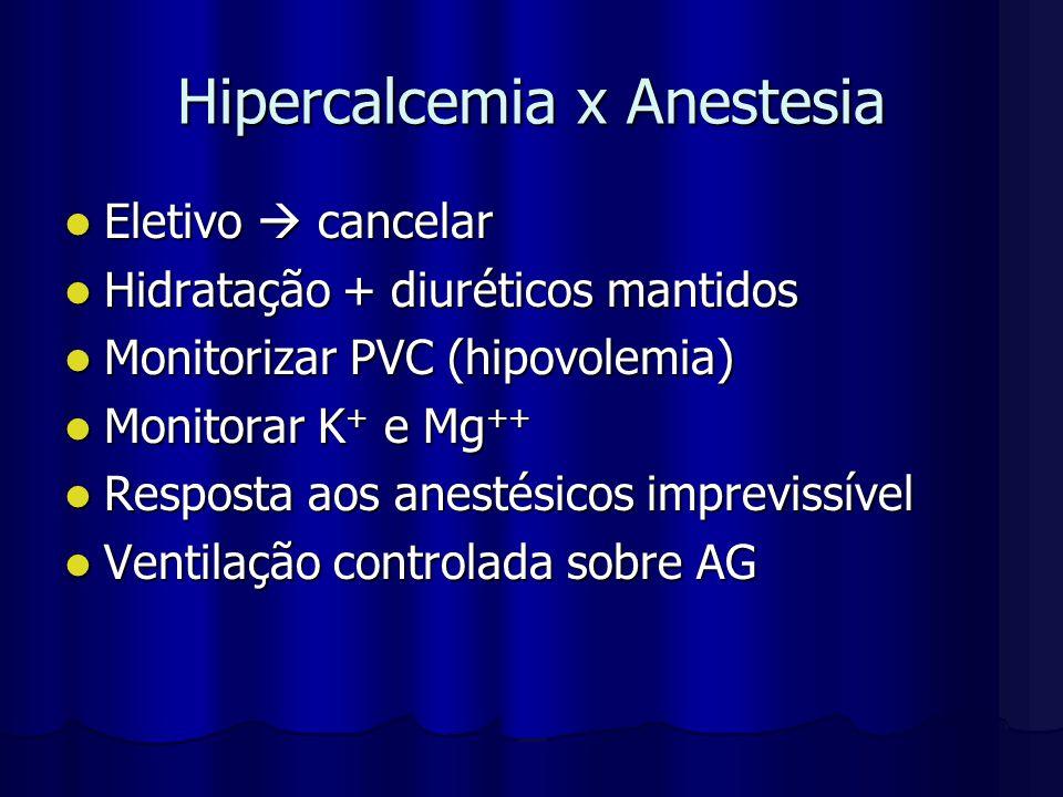 Hipercalcemia x Anestesia Eletivo  cancelar Eletivo  cancelar Hidratação + diuréticos mantidos Hidratação + diuréticos mantidos Monitorizar PVC (hip