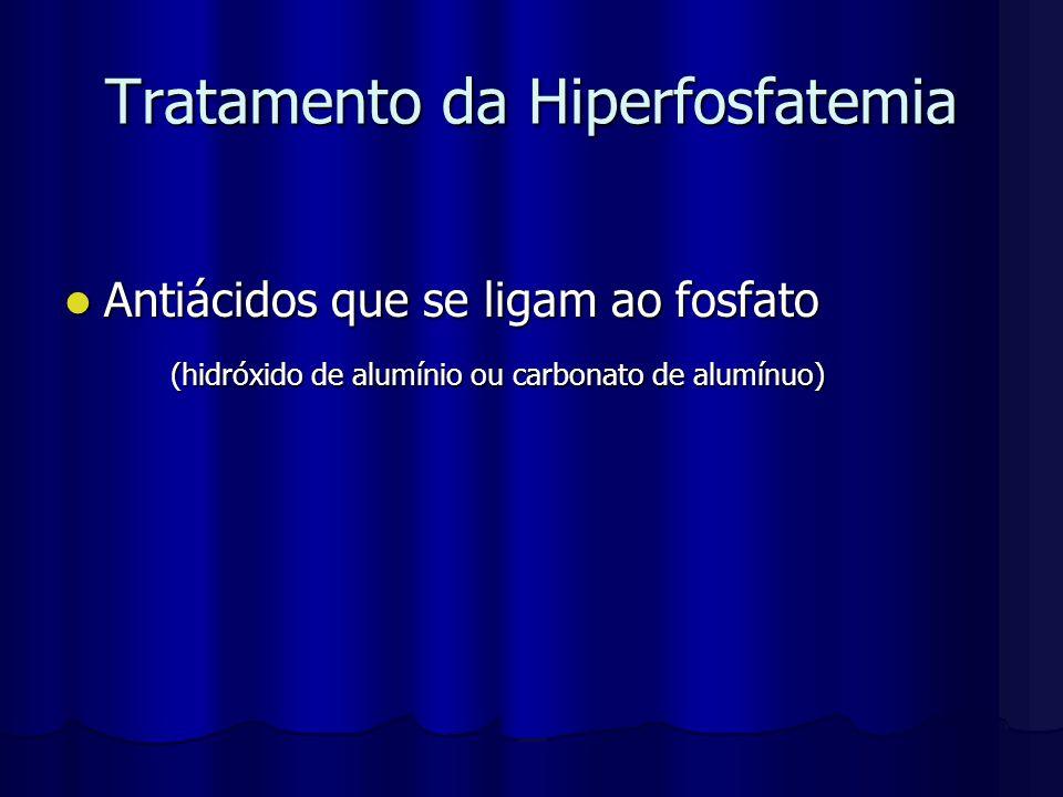 Tratamento da Hiperfosfatemia Antiácidos que se ligam ao fosfato Antiácidos que se ligam ao fosfato (hidróxido de alumínio ou carbonato de alumínuo)