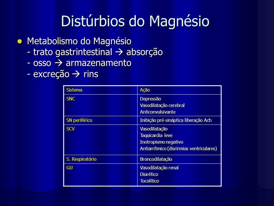 Distúrbios do Magnésio Metabolismo do Magnésio Metabolismo do Magnésio - trato gastrintestinal  absorção - osso  armazenamento - excreção  rins Sis