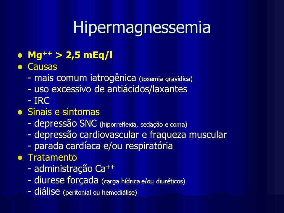Hipermagnessemia Mg ++ > 2,5 mEq/l Mg ++ > 2,5 mEq/l Causas Causas - mais comum iatrogênica (toxemia gravídica) - uso excessivo de antiácidos/laxantes