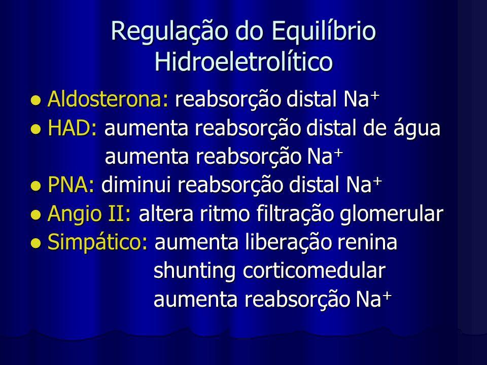 Regulação do Equilíbrio Hidroeletrolítico Aldosterona: reabsorção distal Na + Aldosterona: reabsorção distal Na + HAD: aumenta reabsorção distal de ág