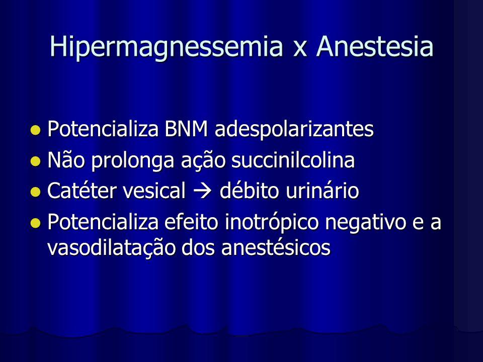 Hipermagnessemia x Anestesia Potencializa BNM adespolarizantes Potencializa BNM adespolarizantes Não prolonga ação succinilcolina Não prolonga ação su
