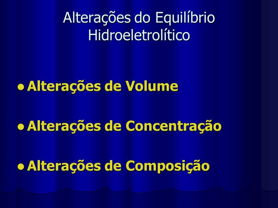 Alterações de Volume Compartimentos Compartimentos Intravascular – Intersticial – Intracelular Avaliação das Alterações de Volume Avaliação das Alterações de Volume Exame clínico: FC, PA, débito urinário, PVC Reposição Reposição Cristalóide x Colóide