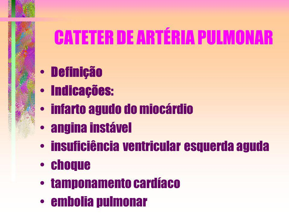 CATETER DE ARTÉRIA PULMONAR Definição Indicações: infarto agudo do miocárdio angina instável insuficiência ventricular esquerda aguda choque tamponame