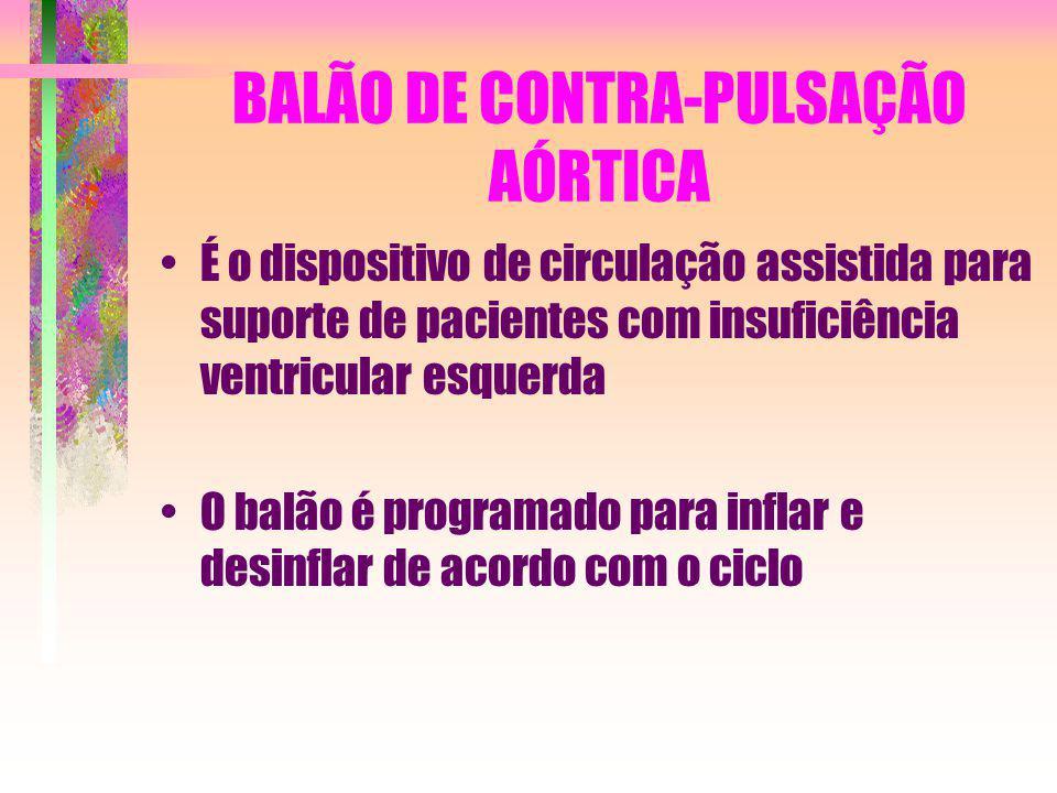 BALÃO DE CONTRA-PULSAÇÃO AÓRTICA É o dispositivo de circulação assistida para suporte de pacientes com insuficiência ventricular esquerda O balão é pr