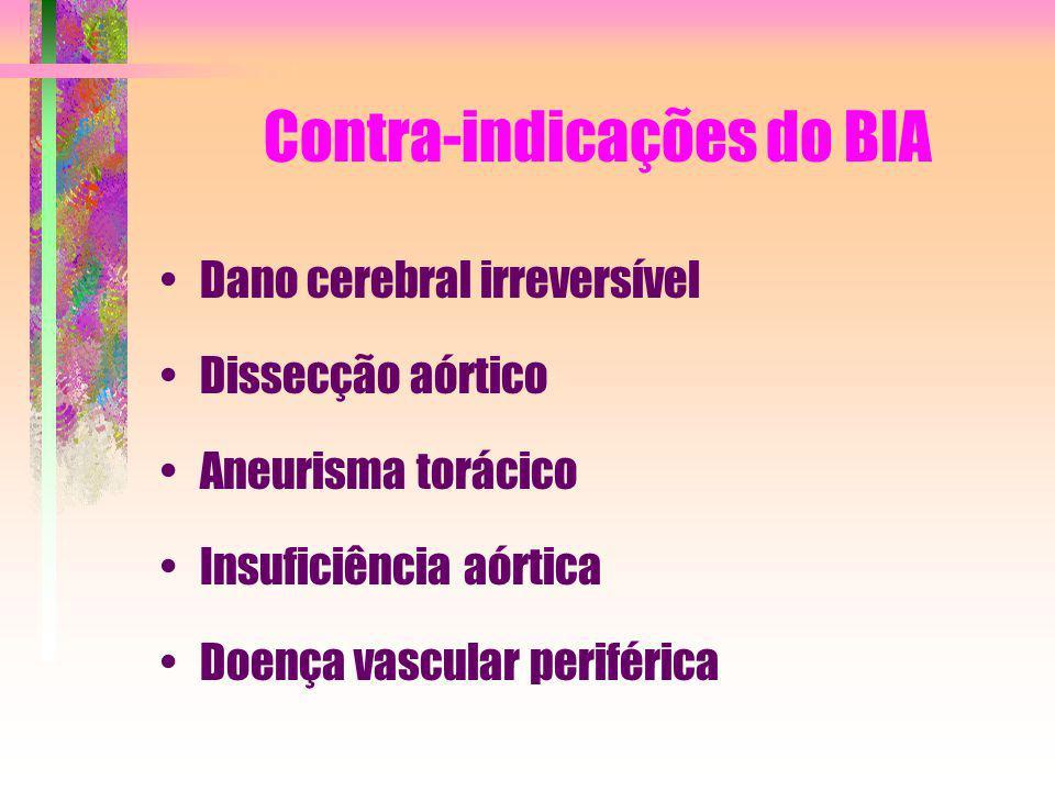 Contra-indicações do BIA Dano cerebral irreversível Dissecção aórtico Aneurisma torácico Insuficiência aórtica Doença vascular periférica