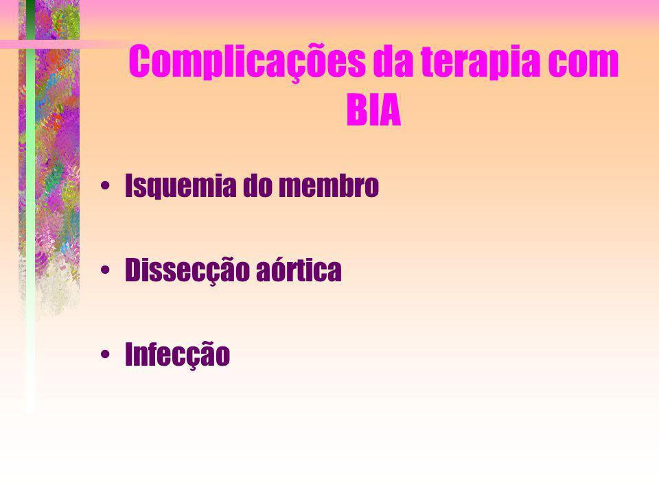 Complicações da terapia com BIA Isquemia do membro Dissecção aórtica Infecção