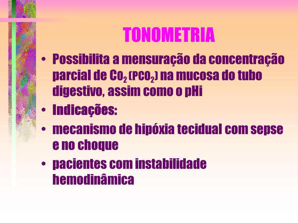 TONOMETRIA Possibilita a mensuração da concentração parcial de C O 2 (PCO 2 ) na mucosa do tubo digestivo, assim como o pHi Indicações: mecanismo de h