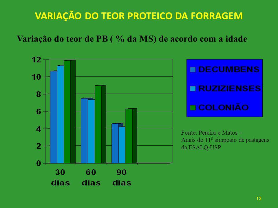 VARIAÇÃO DO TEOR PROTEICO DA FORRAGEM 13 Variação do teor de PB ( % da MS) de acordo com a idade Fonte: Pereira e Matos – Anais do 11 0 simpósio de pa