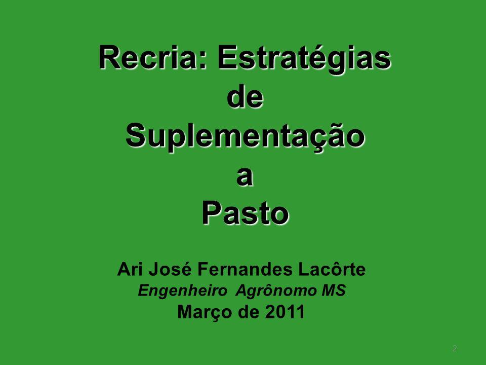 2 Recria: Estratégias deSuplementaçãoaPasto Ari José Fernandes Lacôrte Engenheiro Agrônomo MS Março de 2011