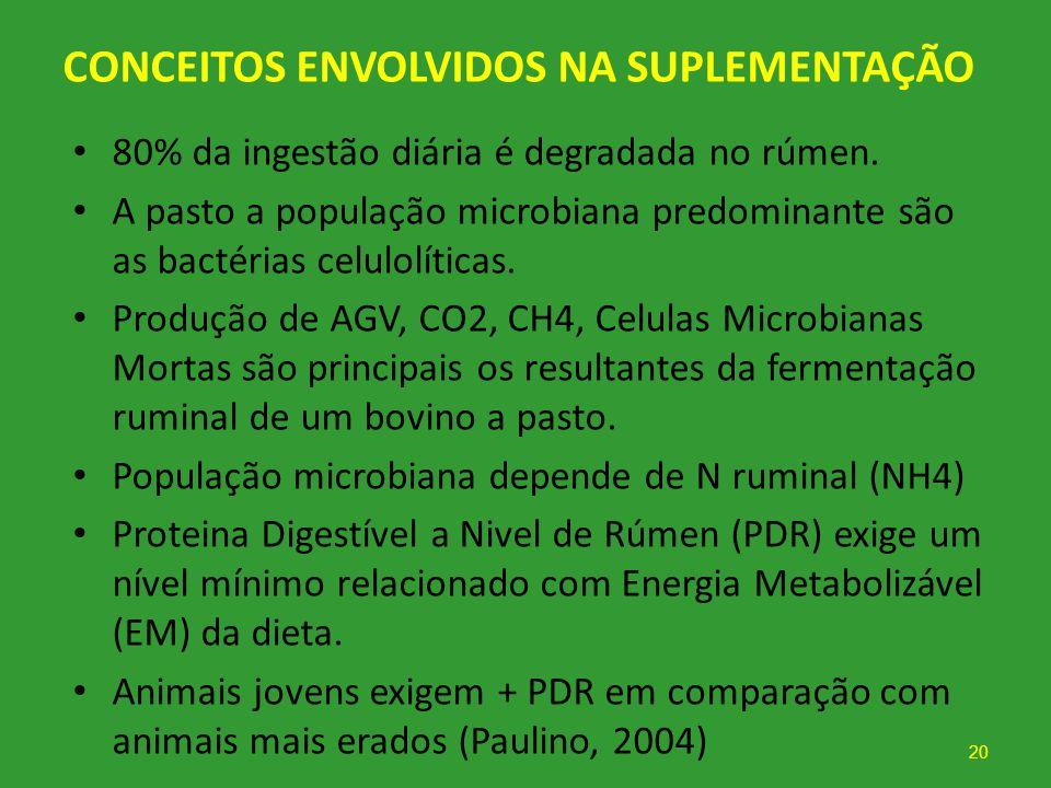 CONCEITOS ENVOLVIDOS NA SUPLEMENTAÇÃO 80% da ingestão diária é degradada no rúmen. A pasto a população microbiana predominante são as bactérias celulo