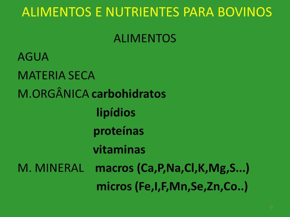 ALIMENTOS E NUTRIENTES PARA BOVINOS ALIMENTOS AGUA MATERIA SECA M.ORGÂNICA carbohidratos lipídios proteínas vitaminas M. MINERAL macros (Ca,P,Na,Cl,K,